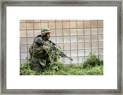 A Squad Automatic Weapon Gunner Posts Framed Print