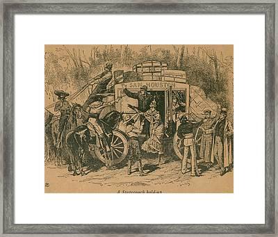 A Stagecoach Holdup. Illustration Framed Print by Everett