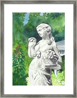 Framed Print featuring the painting A Statue At The Wellers Carriage House -2 by Yoshiko Mishina