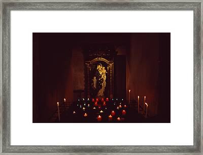 A Statue Of A Madonna And Child Framed Print by David Evans