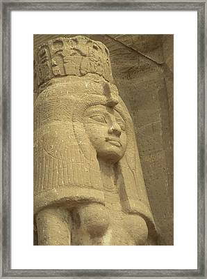 A Statue Of Nefertari At The Entrance Framed Print by Richard Nowitz