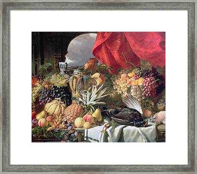 A Still Life Of Game Birds And Numerous Fruits Framed Print by William Duffield