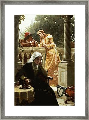 A Stolen Interview Framed Print by Edmund Blair Leighton