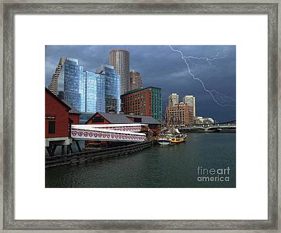 Framed Print featuring the photograph A Storm In Boston by Gina Cormier