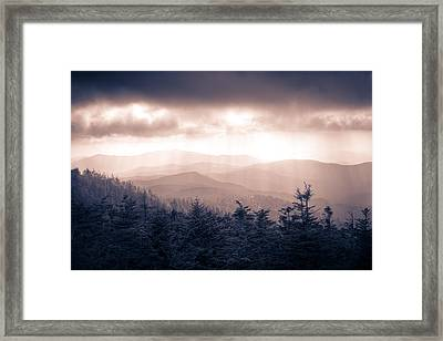 a Storm Over the Smokys Monotone Framed Print