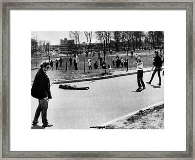A Student Lies Dead At Kent State Framed Print by Everett