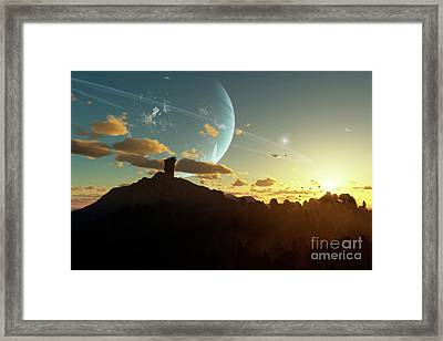 A Sunset On A Forested Moon Which Framed Print by Brian Christensen