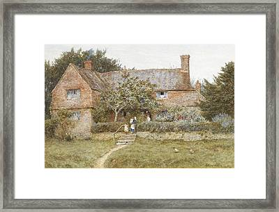 A Surrey Cottage With A Mother And Her Children Framed Print by Helen Allingham