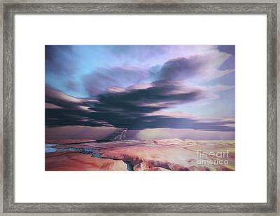 A Swift Moving Thunderstorm Moves Framed Print