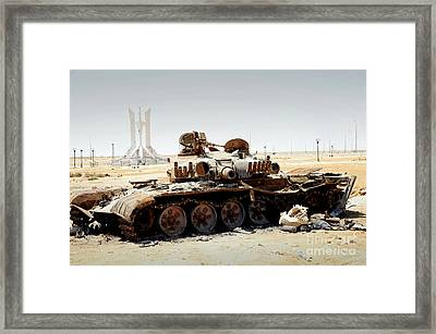 A T-80 Tank Destroyed By Nato Forces Framed Print by Andrew Chittock