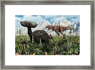 A T. Rex Confronts An Ankylosaurus Framed Print