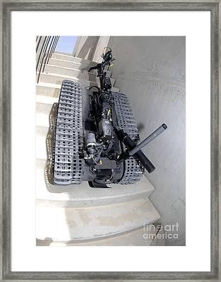 A Talon 3b Robot Unit Climbing A Flight Framed Print