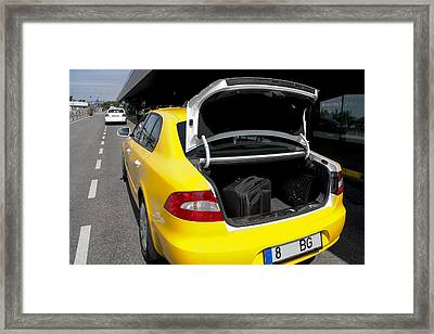 A Taxi At Tallinn Airport. Open Trunk Framed Print by Jaak Nilson