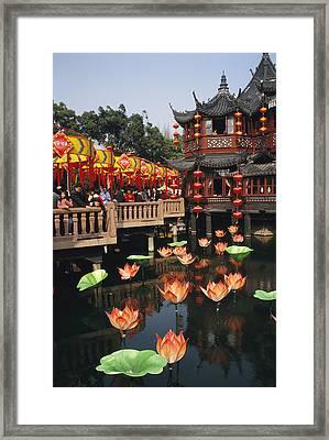 A Tea House In Shanghais Yuyuan Garden Framed Print by Justin Guariglia