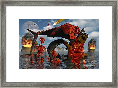 A Team Of Androids Break Down Objects Framed Print