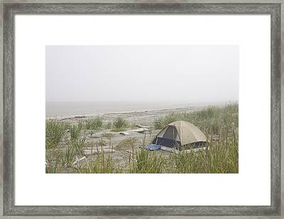 A Tent Sits In The Dunes By The Beach Framed Print by Taylor S. Kennedy