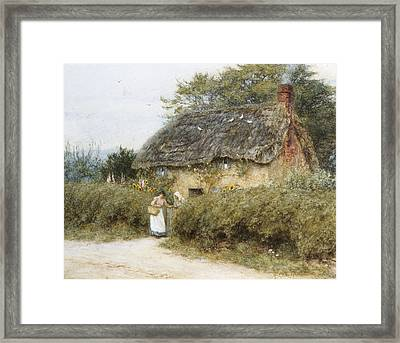 A Thatched Cottage Near Peaslake Surrey Framed Print by Helen Allingham