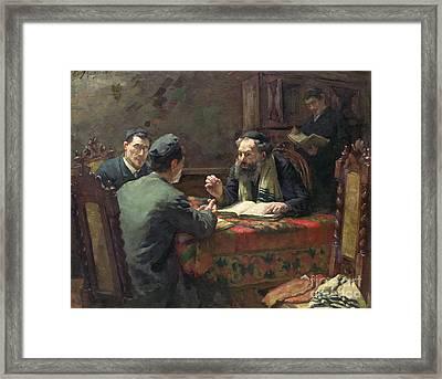 A Theological Debate Framed Print by Eduard Frankfort