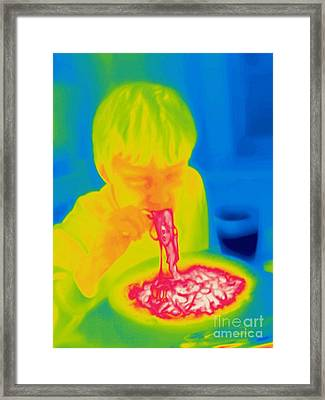 A Thermogram Of A Boy Eating Hot Framed Print