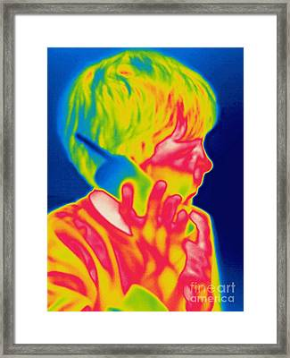 A Thermogram Of A Boy Talking Framed Print by Ted Kinsman