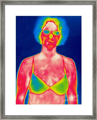 A Thermogram Of A Woman In A Bra Framed Print by Ted Kinsman