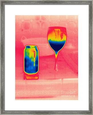 A Thermogram Of Cool Wine And Cool Soda Framed Print