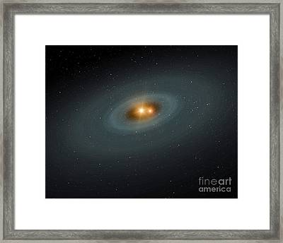 A Tight Pair Of Stars And A Surrounding Framed Print by Stocktrek Images