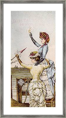 A Trade Card For Charter Oak Stoves Framed Print by Everett