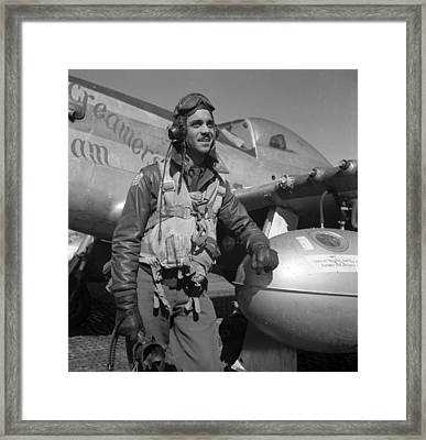 A Tuskegee Fighter Pilot Poses Framed Print