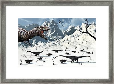 A  Tyrannosaurus Rex Stalks A Mixed Framed Print by Mark Stevenson