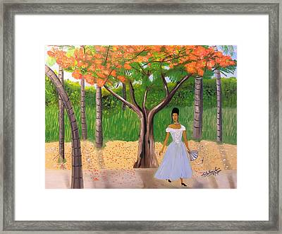 A Une Dame Creole Framed Print by Nicole Jean-Louis