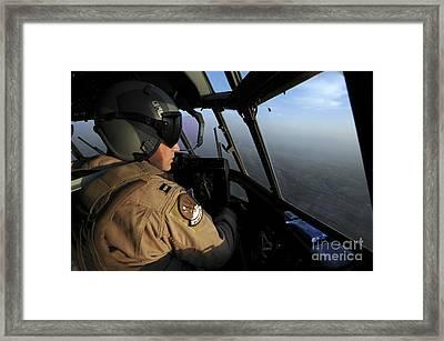 A U.s. Air Force C-130j Hercules Pilot Framed Print by Stocktrek Images