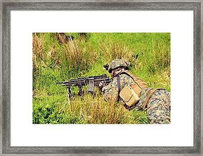 A U.s. Army Soldier Training Framed Print by Andrew Chittock