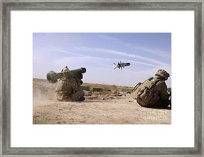 A U.s. Marine Fires A Javelin Framed Print by Stocktrek Images