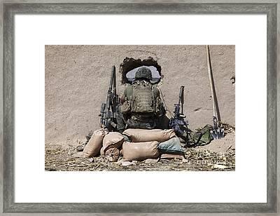 A U.s. Marine Sniper Observes Framed Print by Stocktrek Images