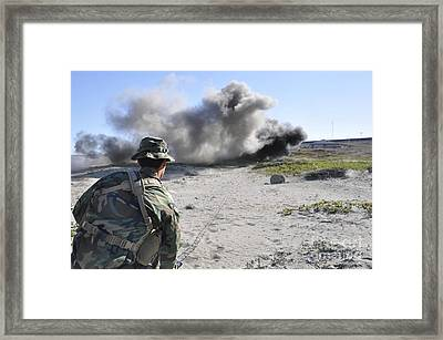 A U.s. Navy Student In Basic Underwater Framed Print by Stocktrek Images