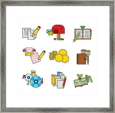 A Variety Of Writing Tools Framed Print