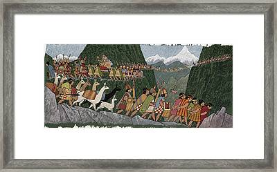 A Victorious Inca Emperor And His Army Framed Print by Ned M. Seidler
