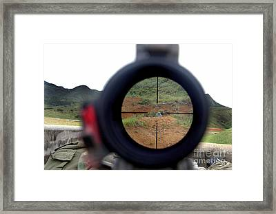 A View Looking Down Range On Target Framed Print by Stocktrek Images