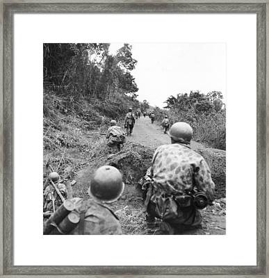 A View Of French Troops Trying Framed Print by J Baylor Roberts