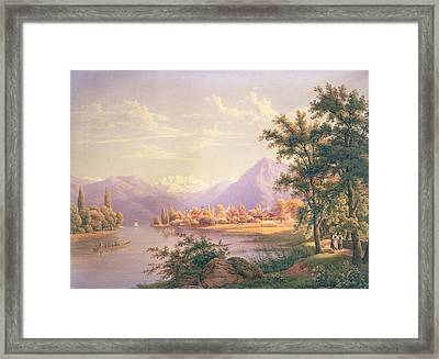 A View Of Scherzingen On The Lake Of Thun Framed Print by Jakob Suter
