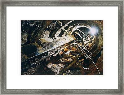 A View Of The Corroded Interior Framed Print by Ira Block