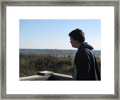 A View Of The Ocean Framed Print by Juliana  Blessington
