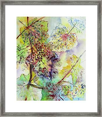 Framed Print featuring the painting A Vineyard Morning by Karen Fleschler