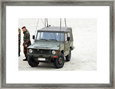 A Vw Iltis Jeep Of A Unit Of Belgian Framed Print by Luc De Jaeger