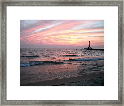 A Walk On Pentwater Beach Framed Print