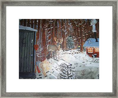 A Whitetail Buck In Back Of Cabin In The Snow Framed Print