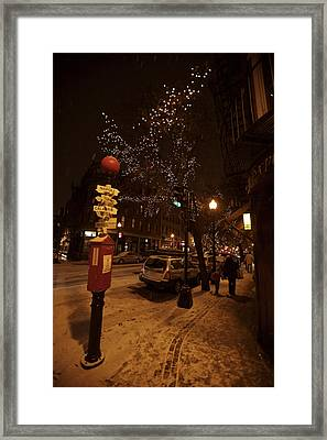 A Winter Evening In Bostons North End Framed Print
