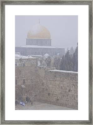 A  Winter Storm Dusts Jerusalems Golden Framed Print by Michael Melford