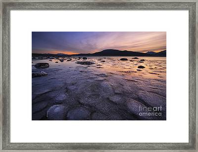 A Winter Sunset At Evenskjer In Troms Framed Print by Arild Heitmann